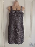 Next Petite size 8 black lace sleeveless fitted pencil dress with gold lining