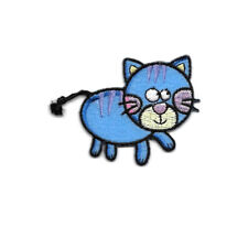 Cat - Childrens - Blue - Embroidered Iron On Applique Patch