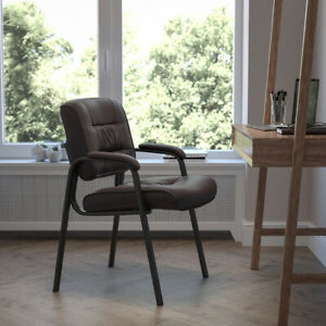 Brown LeatherSoft Executive Side Reception Chair with Black Metal Frame