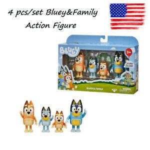 Bluey & Family Bingo Toys 4 Pcs Pack Action Figure Set Collection Toys Kids Gift