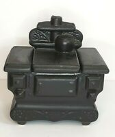 Black Cookie Jar Pottery Cast Iron Stove Oven Unused Condition