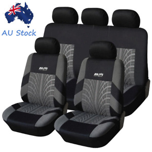 Full Set Washable Car Front & Rear Seat Covers Cushions Protector Pad Black+Gray