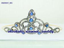 Antique 25.95cts ROSE CUT DIAMOND SAPPHIRE WEDDING HAIR JEWELRY 925 SILVER TIARA