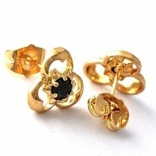 safety punk small Black pearl Gold plated womens Clover Flower stud earrings