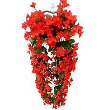 Hanging Wall Artificial Fake Violet Red White Orchid Flowers Rattan Plant Basket