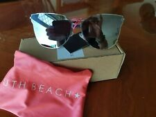 c3d80b6053a4 South Beach Silver Cat Eye Flat Lens Sunglasses UV Protection with Pouch