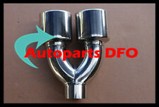 "2"" inlet Stainless double oval outlet rolled angle cut Exhaust Muffler Tip"