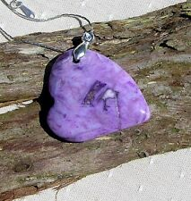 Beautiful Purple Bamboo Agate Gemstone Heart Pendant with Silver Plated Chain