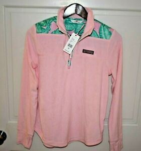 NWT VINEYARD VINES XS Women's L/S 1/4 Zip Terry Cloth Pullover Pink