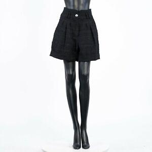 BALMAIN 1350$ High Waisted Black Pleated Tweed Shorts