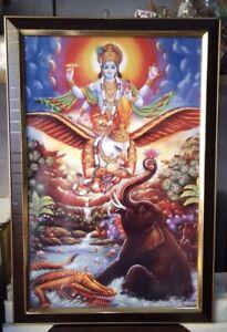 Large Sri Gajendra Moksh Framed(Good For Vastu Dosh) Home Or Business