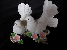 Home Interior Pair of Doves on Branch Hand Painted Porcelian Vintage Collectible