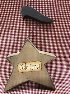 "Handmade Star w Crow ""Olde Crow"" Block 8""x5.25""-CUTE!"
