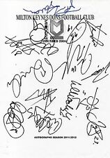 MK DONS FC - Multi Signed A4 Page - By 14 Players 2011/12 - FOOTBALL