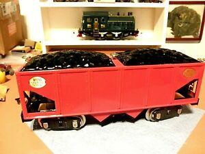 Lionel 216 MTH Standard Gauge Tinplate Car,  Red w/ Brass + Coal Loads