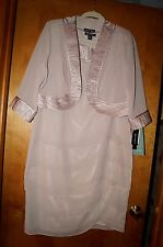 NWT Size 16 Dana Kay Beige 2 Piece Semi Formal Chiffon  Cocktail dress w/ Jacket
