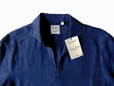Men's MURANO Navy Blue Sexy Open Neck Linen Shirt Extra Large XL NEW NWT HOT!!