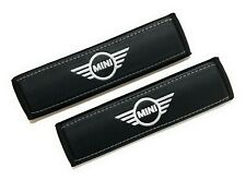 Mini Cooper Black Seat Belt Shoulder Pads Covers with white embroidery 2PCS