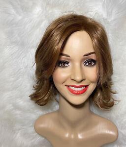 trendco human hair wig bob Natural Wave Curls Colour 14 Lt Medium Golden  Brown