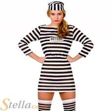 Ladies Prisoner Convict Costume Jailbird Cutie Fancy Dress Womens Sexy Outfit