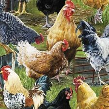 Wild Wings Hen Pecked Chickens and Roosters on Farm Cotton Fabric Fat Quarter