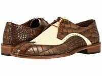 Chaussures à lacets en cuir véritable marron et beige pour hommes faites à la ma