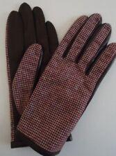 Ladies Houndstooth Genuine Leather Gloves, Large, Burgundy