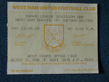West Ham United v Oxford United - 12/4/86 - Ticket
