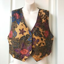 VTG XL/XXL Womens Vest Beaded Embroidered Floral Brown Purple VGUC