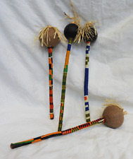 Hand Made African Maraca - Kente Cloth Bound - New Item