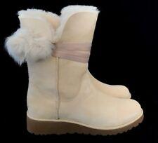 UGG Women Brita Classic Slim Boots Toscana Sheepskin Pom Pom Satin Ribbon Cream