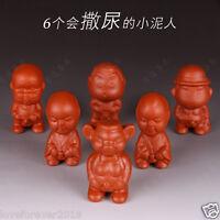 6pcs Chinese handmade craft tea set pet ornament pee doll zisha statue on sales