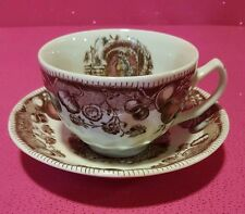 JOHNSON BROS HIS MAJESTY THANKSGIVING TURKEY TEACUP CUP & SAUCER SET More avail.