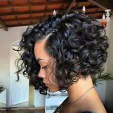 Black Short Curly Human Hair Lace Front Wigs Women African Glueless Full Wig