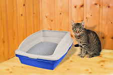 Sifting Cat Litter Box Frame 3 Part Pet Cleaning Blue Large Tray Stain Resistant