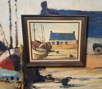 Hafenszene mit Fischerbooten. Altes Ölgemälde, signiert. FAUVISMUS (selten!)