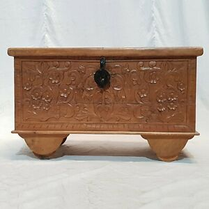 MADE TO ORDER Solid Wood Carved Chest Storage Blanket Box Coffee Table Natural