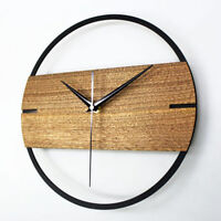 Modern 30cm Wood Silent Non Ticking Wall Clock Home Living Room Decor