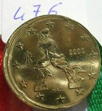 N°476 RARE 20 cent OFFICIEL FAUTEE ITALIE 2002 Decentre+tranche lisse VOIRE SCAN
