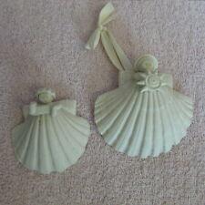 Margaret Furlong Sea Shell Angel Sun Shell set of 2 1990's Christmas Ornament