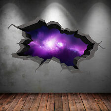 FULL COLOUR SPACE UNIVERSE GALAXY CRACKED 3D WALL ART STICKER DECAL WSD561