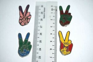 """Lot of 4 metal badges - Zodiac signs on """"Peace hand-sign"""" - Vintage Circa 1980s"""
