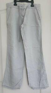 Women's Grey Linen Trousers Size 8R by NEXT