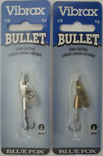 2 - BLUE FOX  Vibrax Bullet Fly Spinners - Size 0 (1/8 oz.) - Gold & Silver