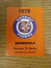 1979 Fixture Card: Baseball - Detroit Tigers (fold out style). Any faults with t