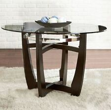 """Glass Dining Table Round Top Tempered Wood Chrome Metal Kitchen Furniture 48""""Dia"""
