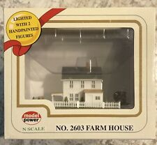 """MODEL POWER """"N Scale"""" Farm House #2603, Lighted with 2 Figures"""