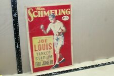 RARE 1936 JOE LOUIS MAX SCHMELING BOXING YANKEES STADIUM POSTER PROMO SIGN