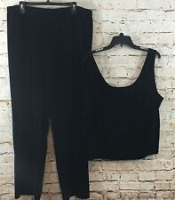 Patra womens 3X pull on velour pants & tank set  black sleeveless velvet SET M8