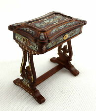 Dolls House Chinese Hand Painted Needlework Sewing Box Walnut 1:12 JBM Furniture